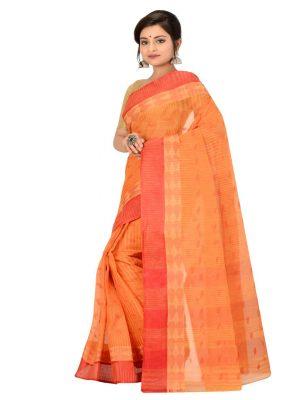 Orange Taant Pure Cotton Saree