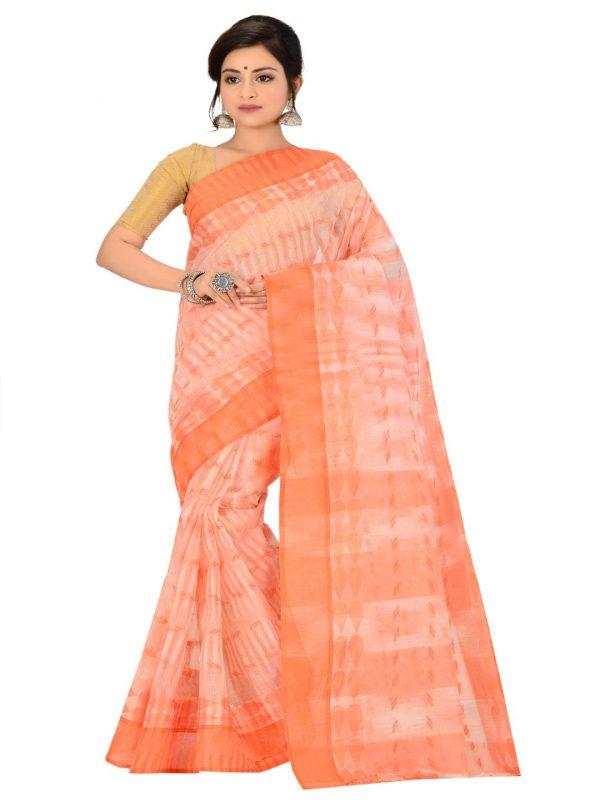 orange pure cotton taant sari