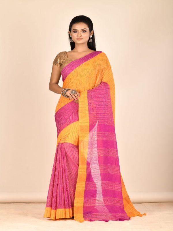 yellow pink pure cotton tant sari