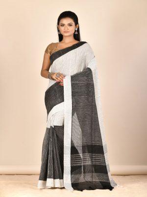 Black White Taant Pure Cotton Saree