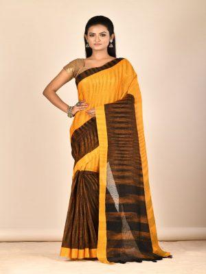 Yellow Black Taant Pure Cotton Saree