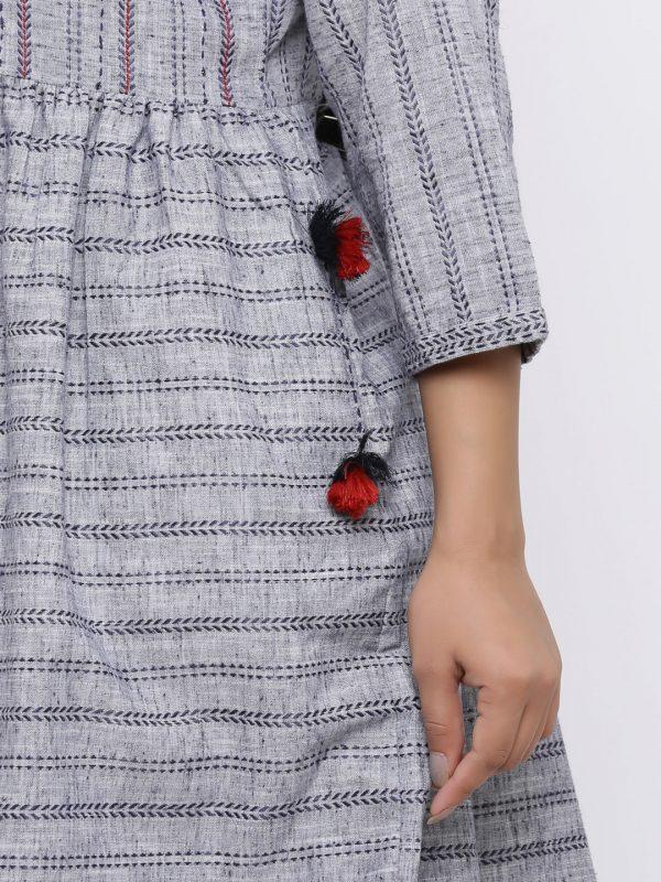 Stripe Embroidered Kurti