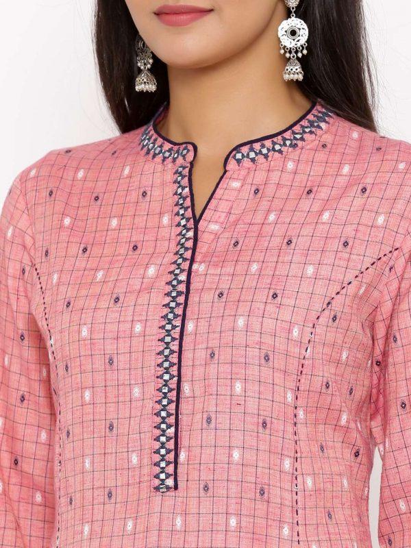 Pink Checks Kurti