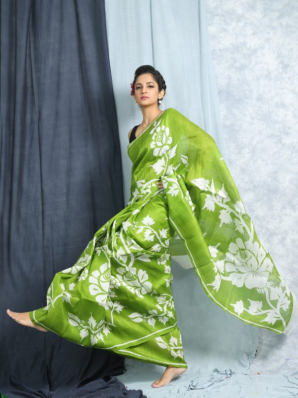 GREEN PRINTED SILK WITHOUT BLOUSE