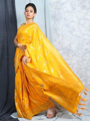 Yellow Jacquard Banarasi Silk Saree