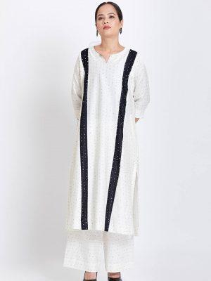 White Pure Silk Printed Kali Kurta