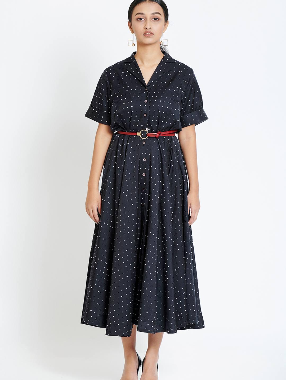 Black Silk Flair Dress