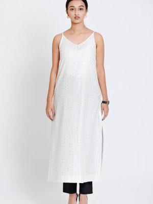 White Pure Silk Printed Kurta
