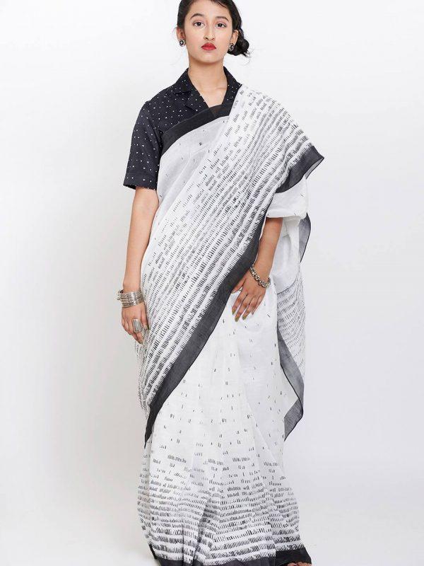 Chanderi silk printed sari