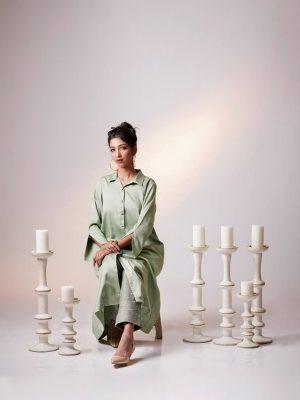 Light Green Matka Silk Embroidered Jacket