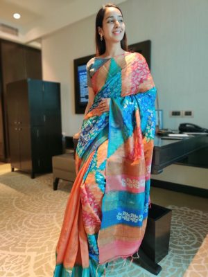 Saffron Tussar Silk Saree