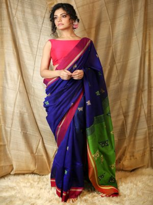 Blue Butterfly Weaving Saree