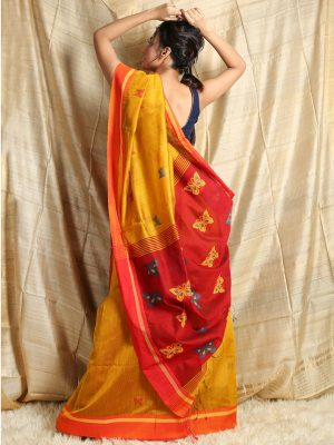 Mustard Yellow Butterfly Weaving Saree