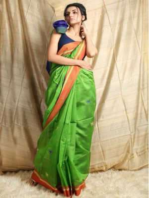 Green Butterfly Weaving Saree