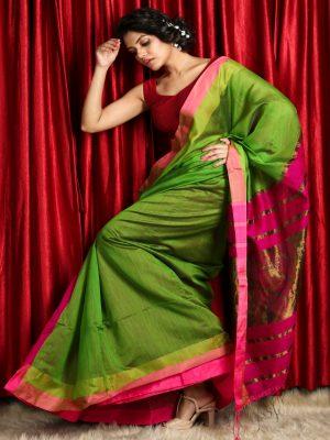 Pink Patli Pallu Handloom Saree