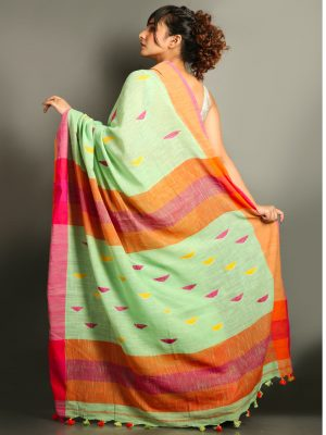 Emerald Green Cotton Handloom Saree