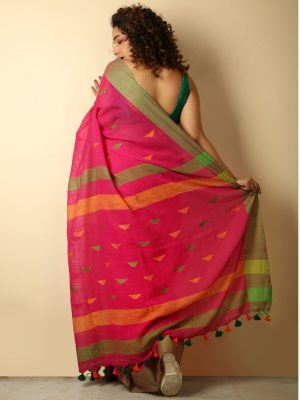Dark Pink Cotton Handloom Saree