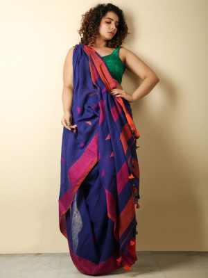 Berry Blue Cotton Handloom Saree With Weaving Motif