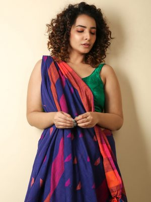 Berry Blue Cotton Handloom Saree With Weaving Motif