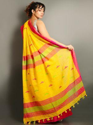 Yellow Cotton Handloom Saree With Weaving Motif