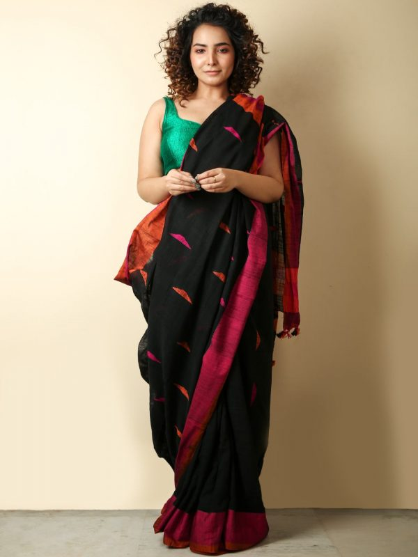 Black Cotton Handloom Saree With Weaving Motif