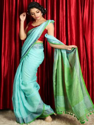 Turquoise Green Dual Border Linen Saree