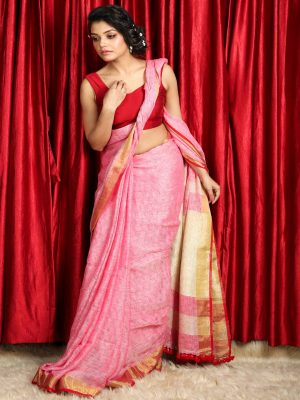 Rouge Pink Pure Linen Saree