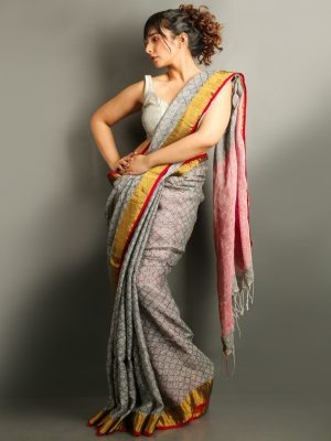 Grey Pure Linen Saree