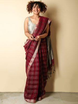 Apple Red Zari Checks Organic Linen Saree