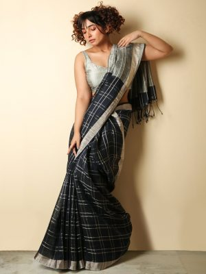 Blue Zari Checks Organic Linen Saree