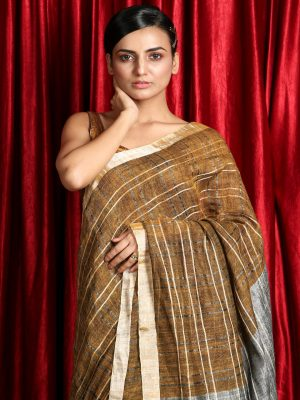 Golden Zari Checks Organic Linen Saree