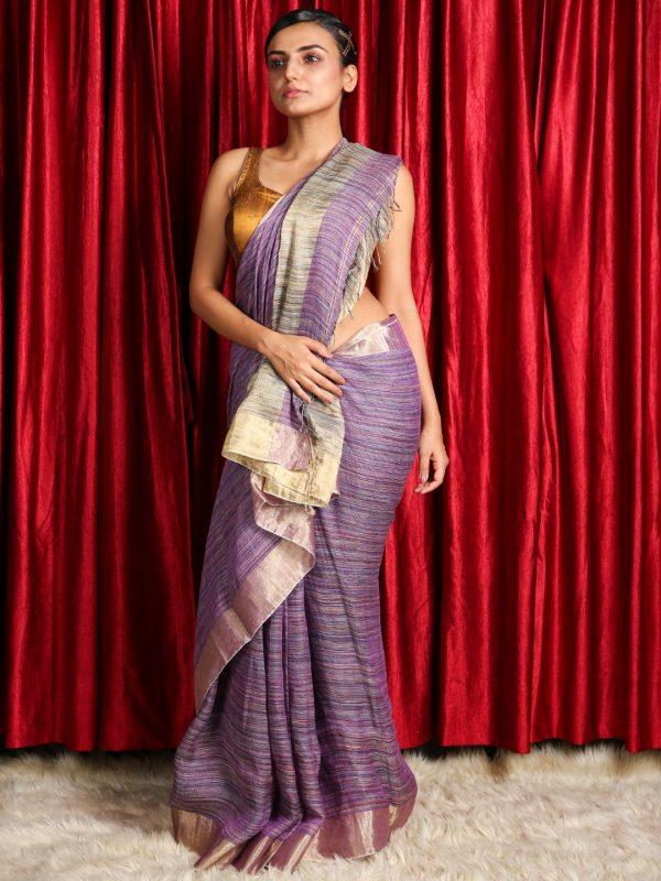 Violet Silk Linen Saree