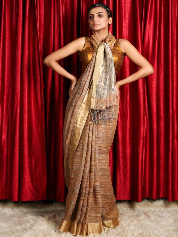 Multicolour Silk Linen Saree