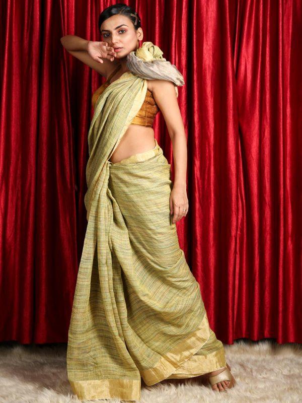 Pista Green Silk Linen Saree