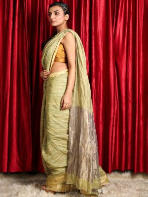 Pista Green Silk Linen Saree