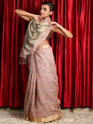 Light Brown Silk Linen Saree