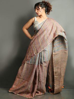 Kantha Pure Linen Saree