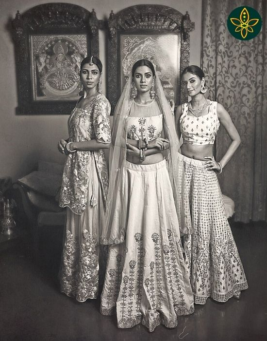 Traditional Lehenga Set with the Long skirt, blouse and dupatta and modern co-ordinate set with Long skirt and Crop top