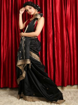 Black Pure Matka Silk Saree