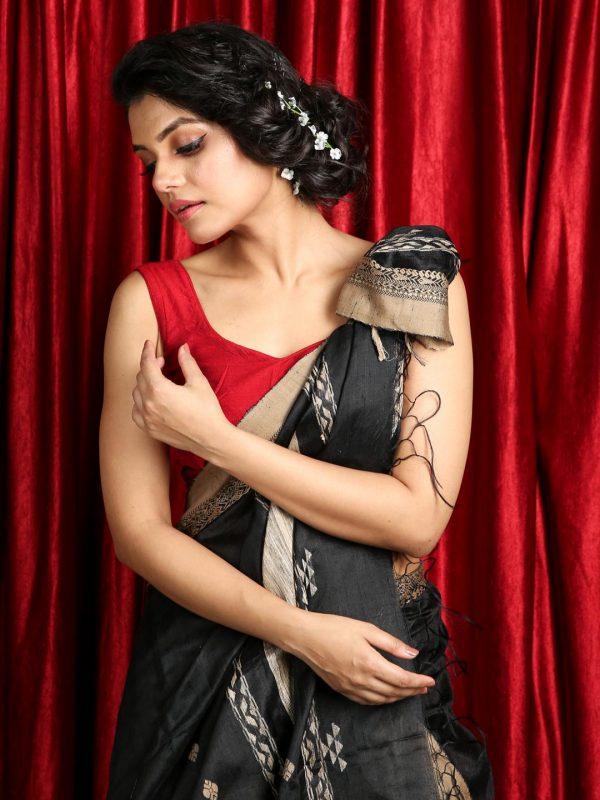 Black Pure Matka Silk Saree