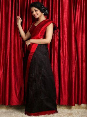 Black & Red Pure Matka Silk Saree