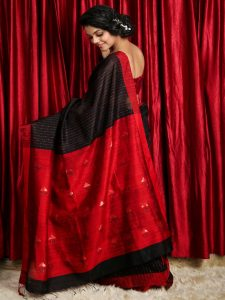 Black & Red Pure Matka Silk Saree
