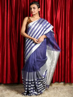 Berry Blue Silk Linen Saree With Silver Zari Stripes