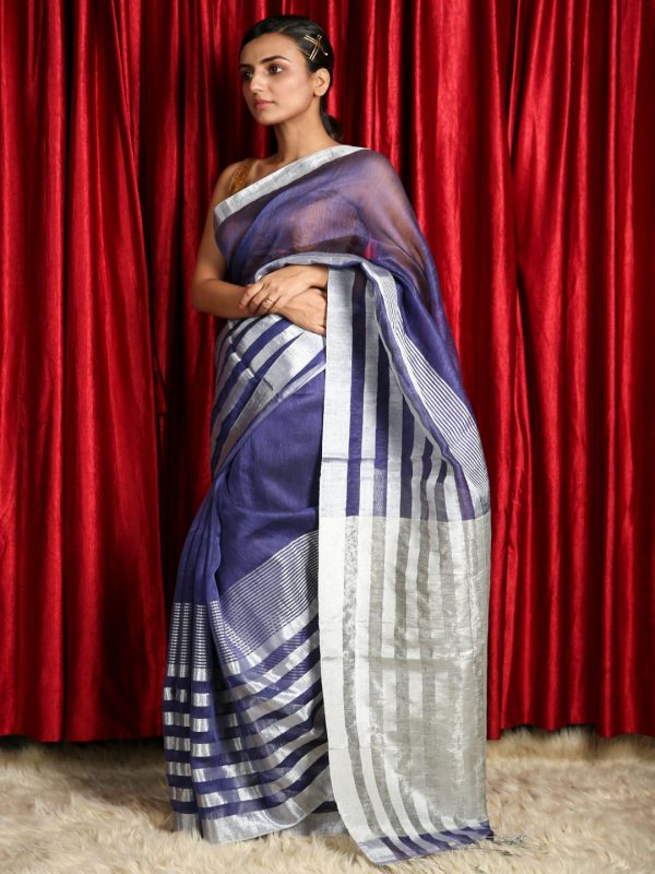 Berry Blue Silk Linen Saree With Silver Zari Stripes