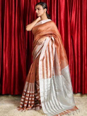 Melon Orange Silk Linen Saree With Silver Zari Stripes