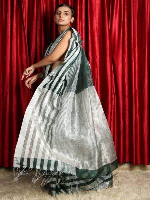 Sacramento Green Silk Linen Saree With Silver Zari Stripes