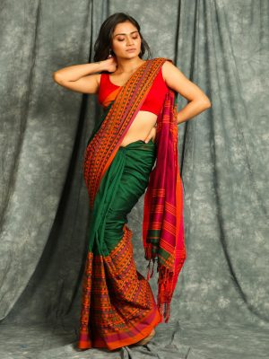 Deep Green Organic Cotton Saree