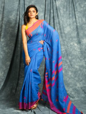 Blue Cotton Blend Saree
