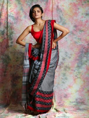 Grey Organic Cotton Saree