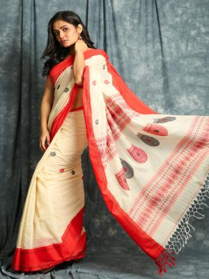 Off White Stripes Handloom Saree